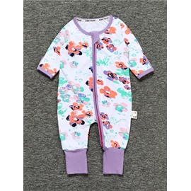 Purple Long Sleeve Covered Feet Cotton Zipper Infant Jumpsuit/Bodysuit