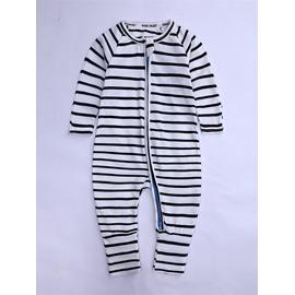 Long Sleeve Covered Feet Cotton Stripe Zipper Infant Jumpsuit/Bodysuit