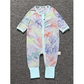 Colorful Long Sleeve Covered Feet Cotton Zipper Infant Jumpsuit/Bodysuit