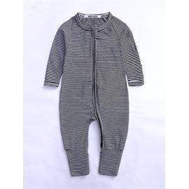 Stripe Long Sleeve Covered Feet Cotton Zipper Infant Jumpsuit/Bodysuit