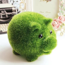 New Arrival Lovely Creative Artificial Grass Pig Design Money Box