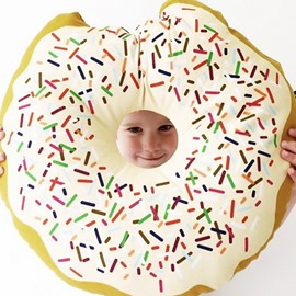 Donut Design Round-shaped Plush Gap Throw Pillow