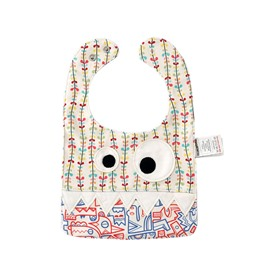 10.23*7.09in Eyes Decoration Leaves Printed Cotton Beige Baby Bib