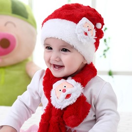Santa Decoration Red and White Baby Hat and Scarf Set