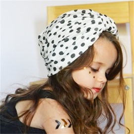Polka Dots Printed Milk Fiber 1-Piece Baby Hat