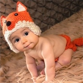 Ear Protecting Little Fox Shaped Yarn Orange Kids Hat