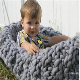 Pure Color Nordic Style Yarn Multi-Color Baby Blanket