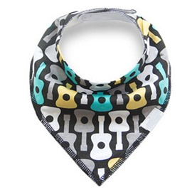 12*12in Guitars Printed Simple Style Cotton Black Baby Bib