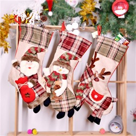 Grid Classic Non-Woven Fabric and Wool Beige Christmas Holiday Stocking