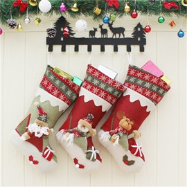 Stripes and Snowflakes Classic Non-Woven Fabric and Wool Christmas Stocking