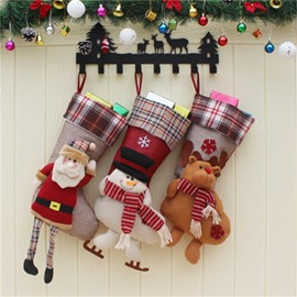 Santa Deer and Snowman Shaped Classic Non-Woven Fabric and Wool Red Christmas Stocking