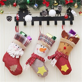 Star and Christmas Tree Decoration Classic Non-Woven Fabric and Wool Christmas Stocking