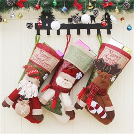 Santa Snowman and Deer Classic Non-Woven Fabric and Wool Christmas Stocking