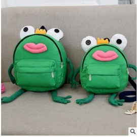Frog Shaped Polyester Green Cute Kids Backpack