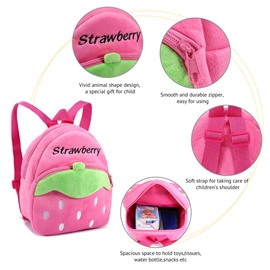 Strawberry Shaped Polyester Multi-Color Cute Kids Backpack