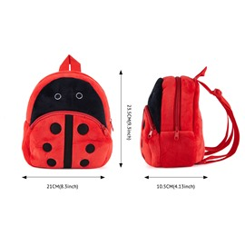Ladybird Shaped Plush Multi-Color Cute Kids Backpack