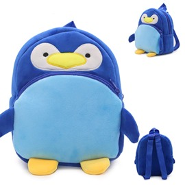 Penguin Shaped Plush Blue Cute Kids Backpack