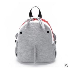 Shark Shaped Polyester Gray Cute Kids Backpack