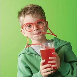Multi-Color Glasses Shaped Kids Cold Water Drinking Glasses/Straw