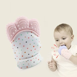 Silicone Blue and Pink Soothing Baby Teething Mitten