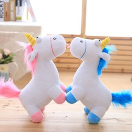 Pink and Blue Unicorn Shaped White Cotton Throw Pillow/Plush Toy