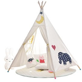 Cute Style Animals Printed Cotton Cloth Kids Play Indoor Tent