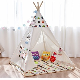 Owl Printed Cotton Cloth White Kids Play Indoor Tent