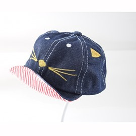 Cute Mice Embroidery Cotton Material Flanging Design Baby Baseball Cap /Peaked Cap