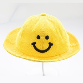 Embroidery Smile Face Cute Bucket hat 5 Color Outdoor Sunhat Kids Hat