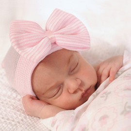 Baby Yarn Material For Newborn Big Bow Decor 5 Color Kids Hat