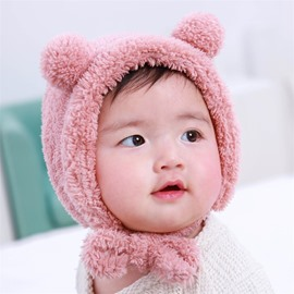 2 Color Plush Soft Warm Keep Cotton Material Baby Hat