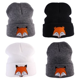 Fox Embroidery 4 Color For Choice Cotton Material Knit Kids Hat