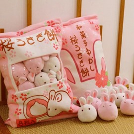 Pink Cute Rabbits Creative Snack 6 Pieces Pulsh Toy/Throw Pillow