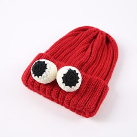 Domed Knitted Brimless Winter Hat with Cartoonish Eyes Hemming Baby Hat