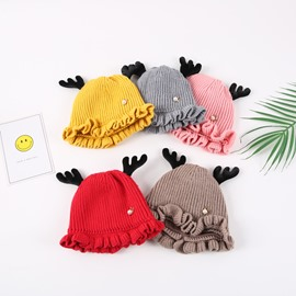 Falbala Cute Domed Knitted Brimless Deer-ear Winter Baby Hat
