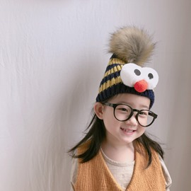 Domed Knitted Brimless Winter Hat with Pompon and Eyes Baby Hat