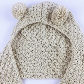 Bear-ear Domed Knitted Lace-Up Baby Hat