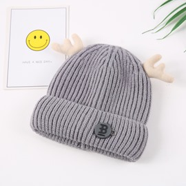 Domed Knitted Brimless Winter Hat with Patch Embroidered Hemming Baby Hat