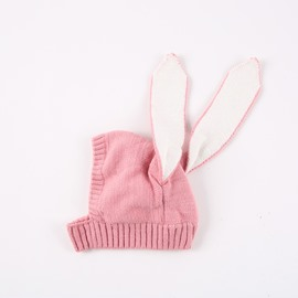 Sweet Knitted Brimless Bunny-ear Woolen Yarn Materials Baby Hat