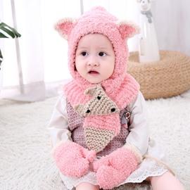 Domed Knitted Brimless Hat Scarf Gloves Three-Piece Set Polar Fleece Baby Hat
