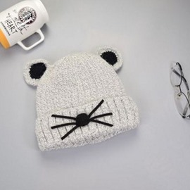 Cute Domed Knitted Brimless Mouse-ear Hemming Velvet Fabrics Winter Baby Hat