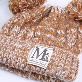 Domed Knitted Brimless Winter Hat with Pompons and M Letter Patch Embroidered Hemming Baby Hat