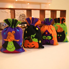 4 Pattern Cute Cartoon Halloween Pattern Cloth Material Candy Bag