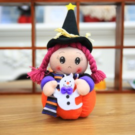 3 Pattern Cute Cartoon Halloween Witch Cloth Material Doll
