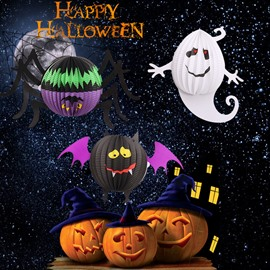 Creative Halloween Spider And Ghost Pattern Paper Material Lantern