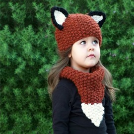 Cute Squirrel Brown Knitted Kids Outdoor Warm Cape Hat And Scarf