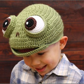 Creative Frog Shape Knitted Kids Outdoor Warm Hat