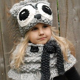 Creative Owl Shape Warm Kids Acrylic Fiber Cape Hat And Scarf