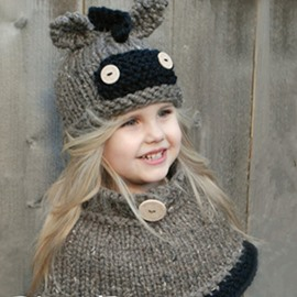 2 Color Donkey Acrylic Fiber Outdoor Warm Kids Hat And Scarf
