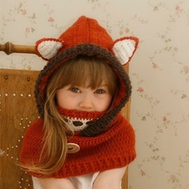 Creative Fox Shape Warm Kids Acrylic Fiber Hat With Respirator
